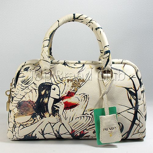 Replica Prada Bags Olivedrab White Black